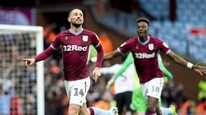 Conor Hourihane celebrating his opening goal for Villa against Derby