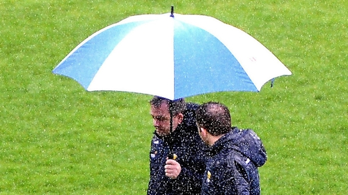 Fitzgerald inspects the waterlogged pitch at Innovate Wexford Park