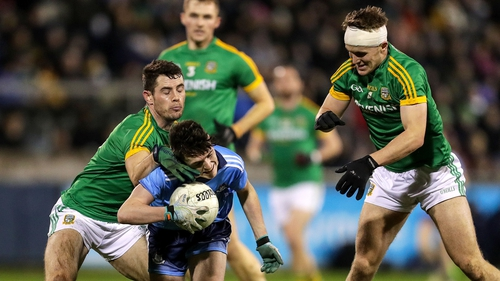 Dublin's Stephen Smith is tackled by Donal Keogan and Ronan Ryan of Meath during their O'Byrne Cup clash in January