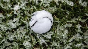 An icy sliotar at Fitzgerald Stadium yesterday during Kerry's Allianz Hurling League clash with Meath