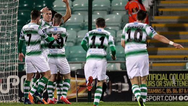 Shamrock Rovers' Roberto Lopes celebrates scoring a goal v Finn Harps