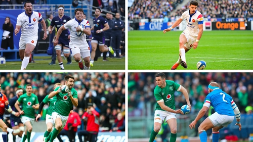 Clockwise from top left: Antoine Dupont, Romain N'Tamack, Johnny Sexton and Conor Murray