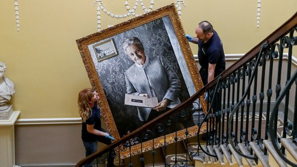 The Women On Walls portrait of Dr Barbara Maive Stokes enters the RCSI building.