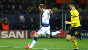 Harry Kane scores against Dortmund in Champions League