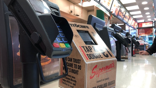 Digital donation boxes are being piloted at Supermac's