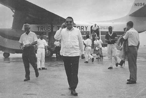 Arrival of Deputy HiCom Benitez, 1961. Image courtesy of Trust Territory of the Pacific Islands Archives.