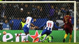 Alex Telles of Porto celebrates after scoring his side's third goal