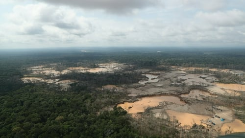 Aerial view shows a deforested area of the Peruvian Amazon rainforest caused by illegal mining