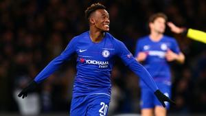 Callum Hudson-Odoi of Chelsea celebrates scoring