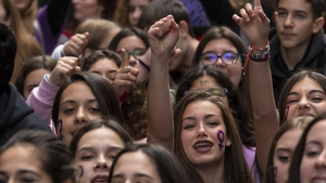 Students take part in a protest to mark 2019 International Women's Day in Madrid