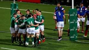 Ireland players celebrate Josh Wycherley scoring a try