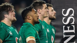 Andrew Porter, Bundee Aki, Jonathan Sexton and Robbie Henshaw after England's win in Dublin