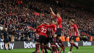 Southampton players celebrate James Ward-Prowse's winner