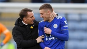 Brendan Rodgers will be hoping that Jamie Vardy can keep his hot streak going against Aston Villa on Sunday