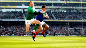 Keith Earls and Thomas Ramos take to the skies at the Aviva Stadium