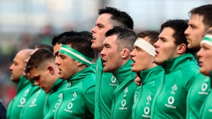 Ireland's CJ Stander, James Ryan and Peter O'Mahony during the anthems