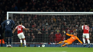 Pierre-Emerick Aubameyang scores from the penalty spot.