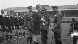 New Zealand captain James Ryan receiving the King's Cup in 1919 from King George V. Photo: Thomas Frederick Scales/Public domain