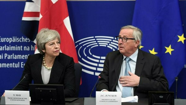 Theresa May and Jean-Claude Juncker in Strasbourg this evening