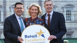 Incoming chairperson of Retail Excellence, Joe Barrett of Applegreen, incoming vice-chair Jean McCabe of Willow and David Fitzsimons, CEO of Retail Excellence