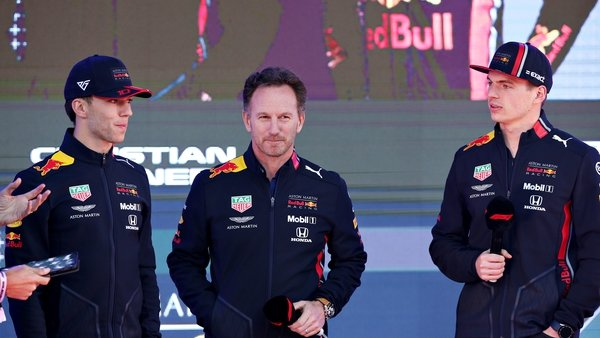Max Verstappen, Pierre Gasly and Red Bull Racing Team Principal Christian Horner