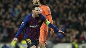 Lionel Messi scored twice as Barcelona demolished Lyon in the last-16