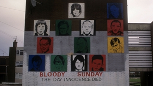 A mural in Derry remembers those killed on Bloody Sunday