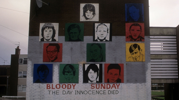 A mural in Derry displays victims of Bloody Sunday. Photo: Kaveh Kazemi/Getty Images