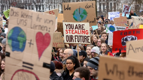 Students in Hamburg  demonstrate against global warming earlier this month. Photo: Adam Berry/Getty Images