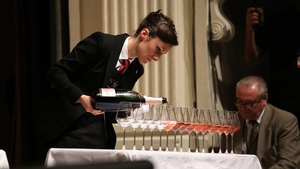 Irish sommelier Julie Dupouy in action at the Best Sommelier of the World contest. Photo: Pachy Reynoso/AFP/Getty Images