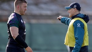 Sean O'Brien and Joe Schmidt at an Ireland training session last month