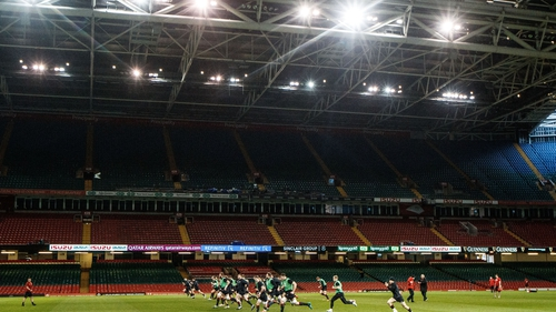 Wales go through their Captain's Run at the Principality Stadium
