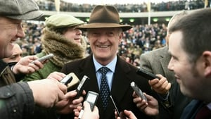 Willie Mullins speaks to the media after Al Boum Photo's win