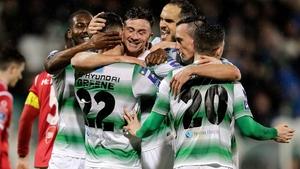 Shamrock Rovers' celebrate Ronan Finn's goal