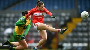 Melissa Duggan of Cork is tackled by Treasa Doherty of Donegal
