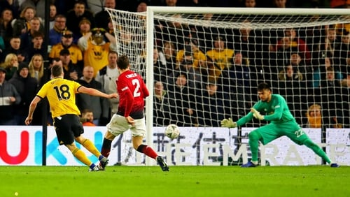 Diogo Jota scores Wolves' second goal