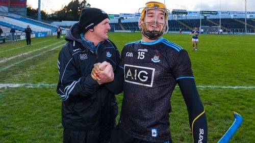 Dublin manager Mattie Kenny (L) and Eamon Dillon celebrate victory at Semple Stadium