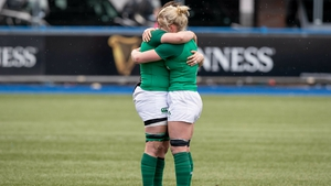 Ciara Griffin and Claire Molloy console each other after the game