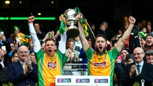 Corofin's Ciaran McGrath and Michael Lundy lift The Andy Merrigan Cup