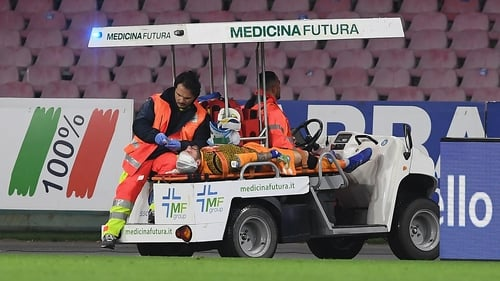 David Ospina being taken off the pitch