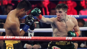 Michael Conlan lands a right against Ruben Garcia Hernandez at The Hulu Theater at Madison Square Garden
