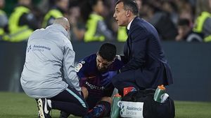 Luis Suarez sprained his ankle at Real Betis