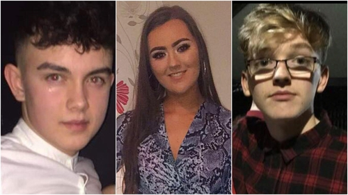 Connor Currie (L), Lauren Bullock and Morgan Barnard died following an apparent crush at the Greenvale Hotel in Cookstown, Co Tyrone