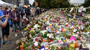 A makeshift memorial in Christchurch in the aftermath of the attacks that left 50 dead