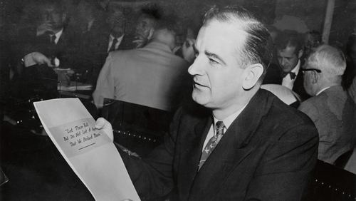 He's making a list of communists, he's checking it twice: Senator Joe McCarthy. Photo: VCG Wilson/Bettmann Archive/Getty Images