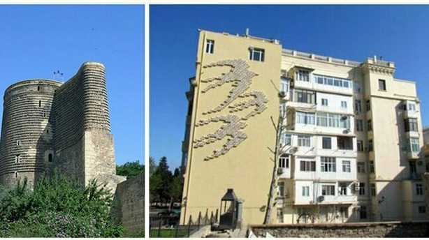 Left: the famous Maiden Tower; Right: a new building with swift boxes