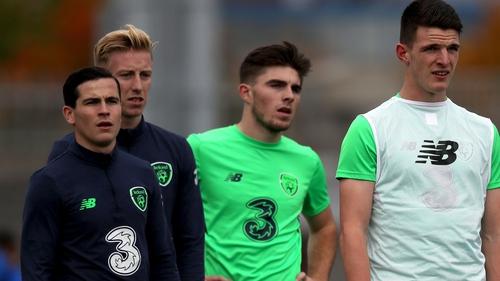 Ireland's Josh Cullen (L) and Declan Rice (R) on Ireland Under-21 duty in October 2017