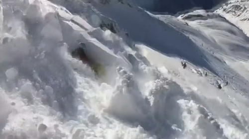 The skier who recorded the incident told Reuters that fortunately no-one was buried by the avalanche