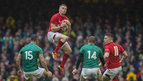 Gareth Anscombe claims a high ball against Ireland