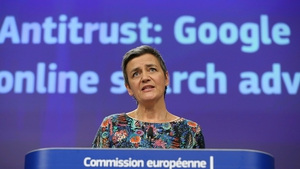 European Competition Commissioner Margrethe Vestager said Google was fined for illegal misuse of its dominant position in the market for the brokering of online search adverts